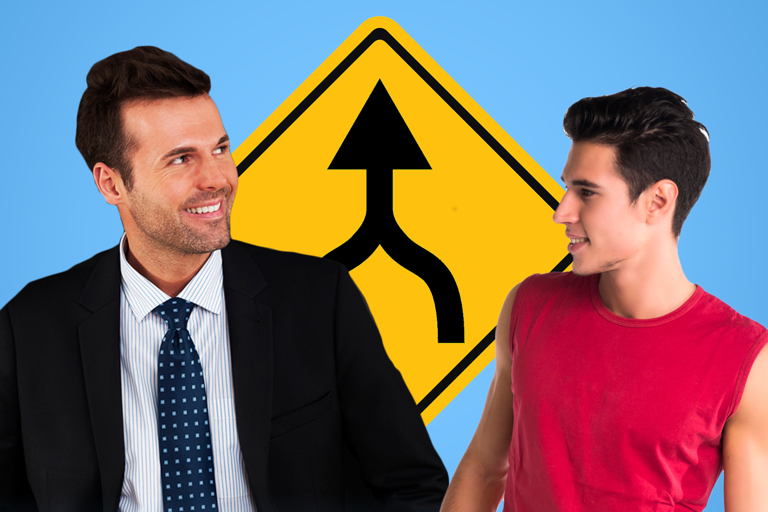 Middle-aged man in suit with younger guy in t-shirt in front of a merge sign