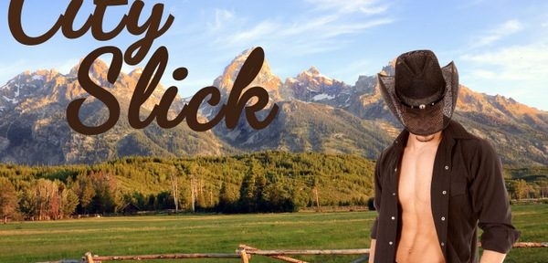 A barechested cowboy against a ranch background