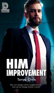 Cover for Him Improvement by Tanya Chris features a bearded man in a suit staring down the camera