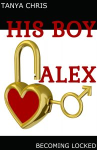 Cover for His Boy Alex features a lock in the shape of a heart and a key in the shape of the male symbol