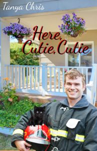 Cover for Here, Cutie, Cutie features a fireman holding a kitten