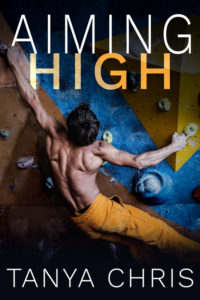 Cover for Aiming High by Tanya Chris shows a climber on a bouldering wall