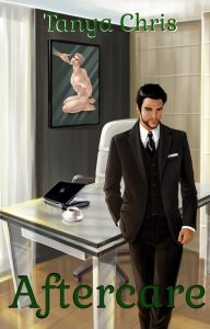 Original cover for Aftercare is illustrated and shows a man standing in front of a desk with a picture in the background