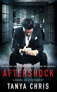 Cover for Aftershock by Tanya Chris features a despondent man in front of a NYC cityscape