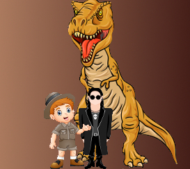 Cartoon versions of a T-Rex, a paleontologist, and a goth dude grouped together