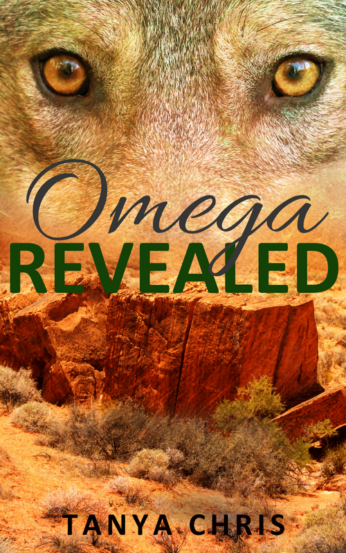Cover for Omega Revealed by Tanya Chris features a wolf in front of a southwest US desert scene