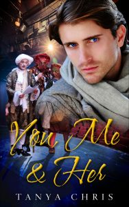 Cover for You, Me & her features a man superimposed over a theater stage