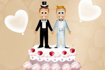 Two male wedding toppers on top of a cake
