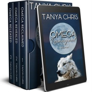 Graphic shows a box set of Omega Reimagined volume 1 books: Omega Reclaimed, Omega Revealed, and Omega Released