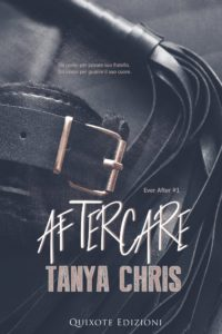Cover for the Italian version of Aftercare shows a belt and a flogger on a dark background
