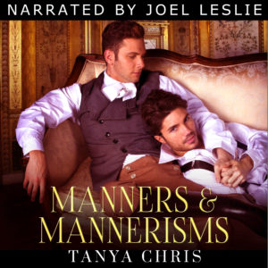 cover for audio version of Manners & Mannerisms shows two men reclining on a chaise with the text Narrated by Joel Leslie