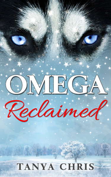 Cover for Omega Reclaimed by Tanya Chris shows the eyes of a white wolf in front of a snowy scene