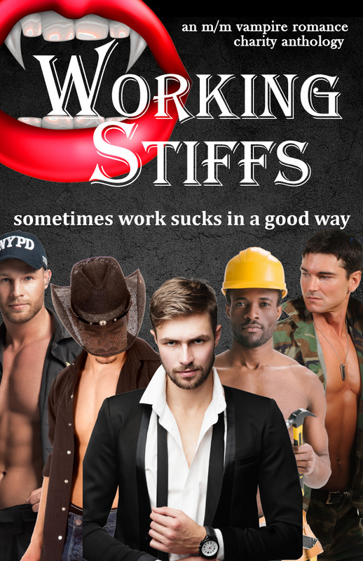 Cover for Working Stiffs, an MM vampire charity anthology shows 5 men dressed for various professions