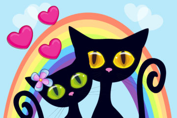 Two cats with hearts in front of a rainbow
