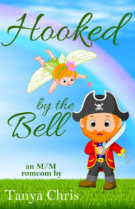 The cover for Hooked by the Bell by Tanya Chris shows a cartoon pirate with a fairy flying over him