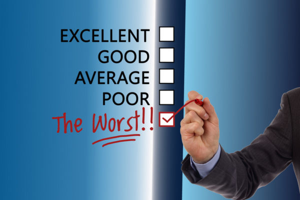 Shows check boxes for excellent, good, average, poor and the worst with the worst being checked