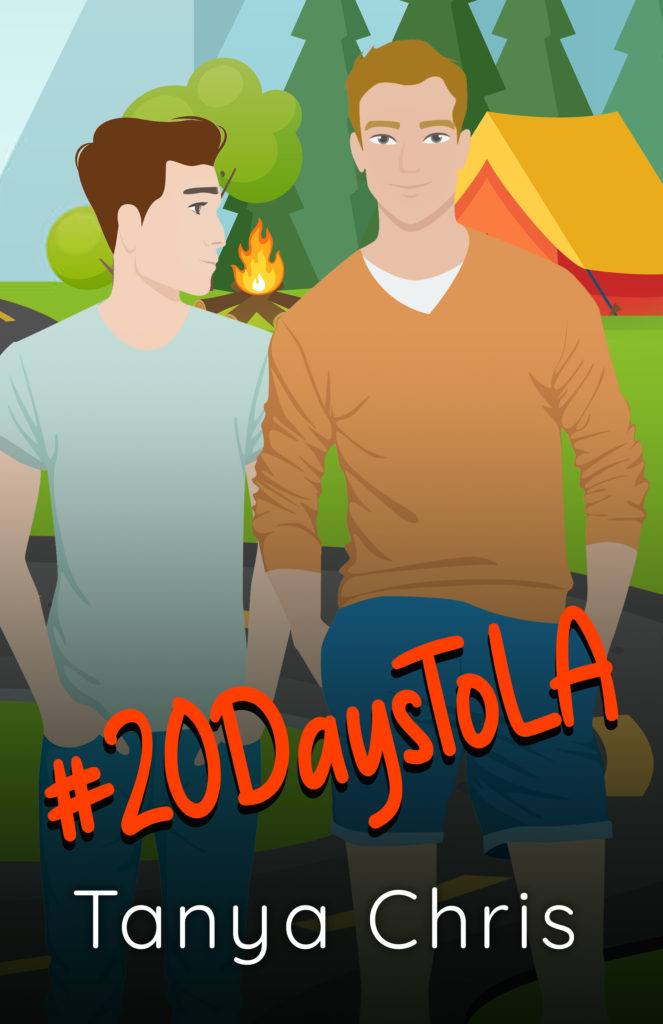 Cover for #20DaysToLA shows two men in front of a campsite scene