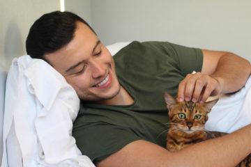 A man stroking an orange kitten
