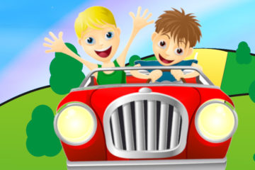 Two cartoon young men in a red car