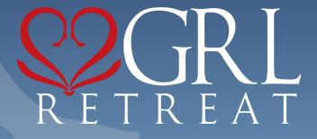 Logo for the GRL Retreat features a red stylized heart on a blue background