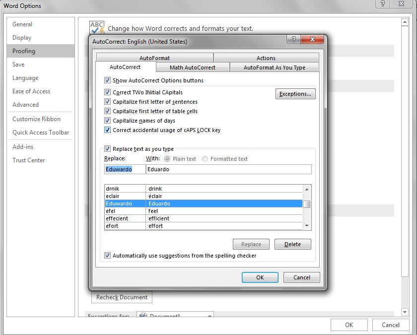 Screenshot of the autocorrect dialogue box in Word