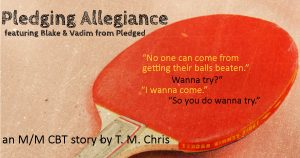 "A ping pong paddle with dialogue and the legend ""an M/M CBT story by T. M. Chris"""