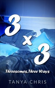 Cover for Three by Three by Tanya Chris features an rumbled bed in shades of blue