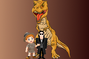 T-Rex with goth guy and archeologist guy