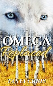 Cover for Omega Replaced shows a white wolf head superimposed over a forest scene with birches