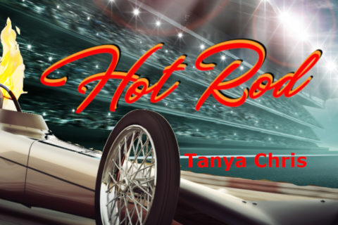 Image shows a drag car in an arena with the words Hot Rod