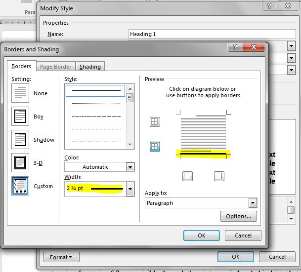 In the Border dialog, click at the bottom of the Preview box to draw a line along the bottom, then use the Width drop down to select 2 1/4 pt