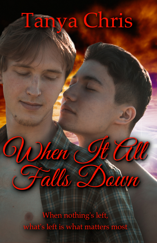 Cover for When It All Falls Down by Tanya Chris features two young men with their faces together against a sunset