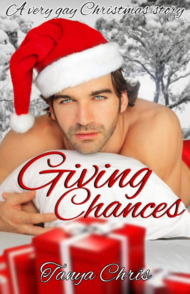 Cover of Giving Chances features a shirtless man in a Santa hat lying on his stomach