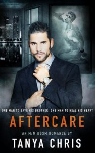 Cover of Aftercare by Tanya Chris shows a man in front of a NYC cityscape straightening his tie