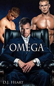 Cover for Omega by DJ Heart features a seated man in suit framed by two smaller shirtless men