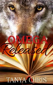 Cover for Omega Released by Tanya Chris shows a wolf with his nose in the pages of an open book