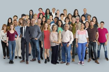Large group of diverse people standing posed
