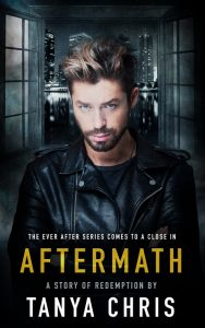 Cover for Aftermath by Tanya Chris features a young man in a leather jacket in front of a NYC cityscape