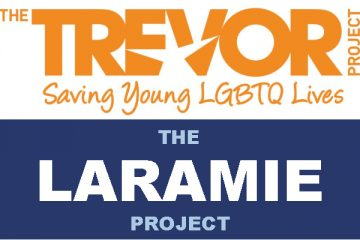 Combined logos of The Trevor Project and The Laramie Project