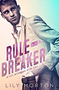 Cover for Rule Breaker by Lily Morton shows a man in a suit in front of a pastel background