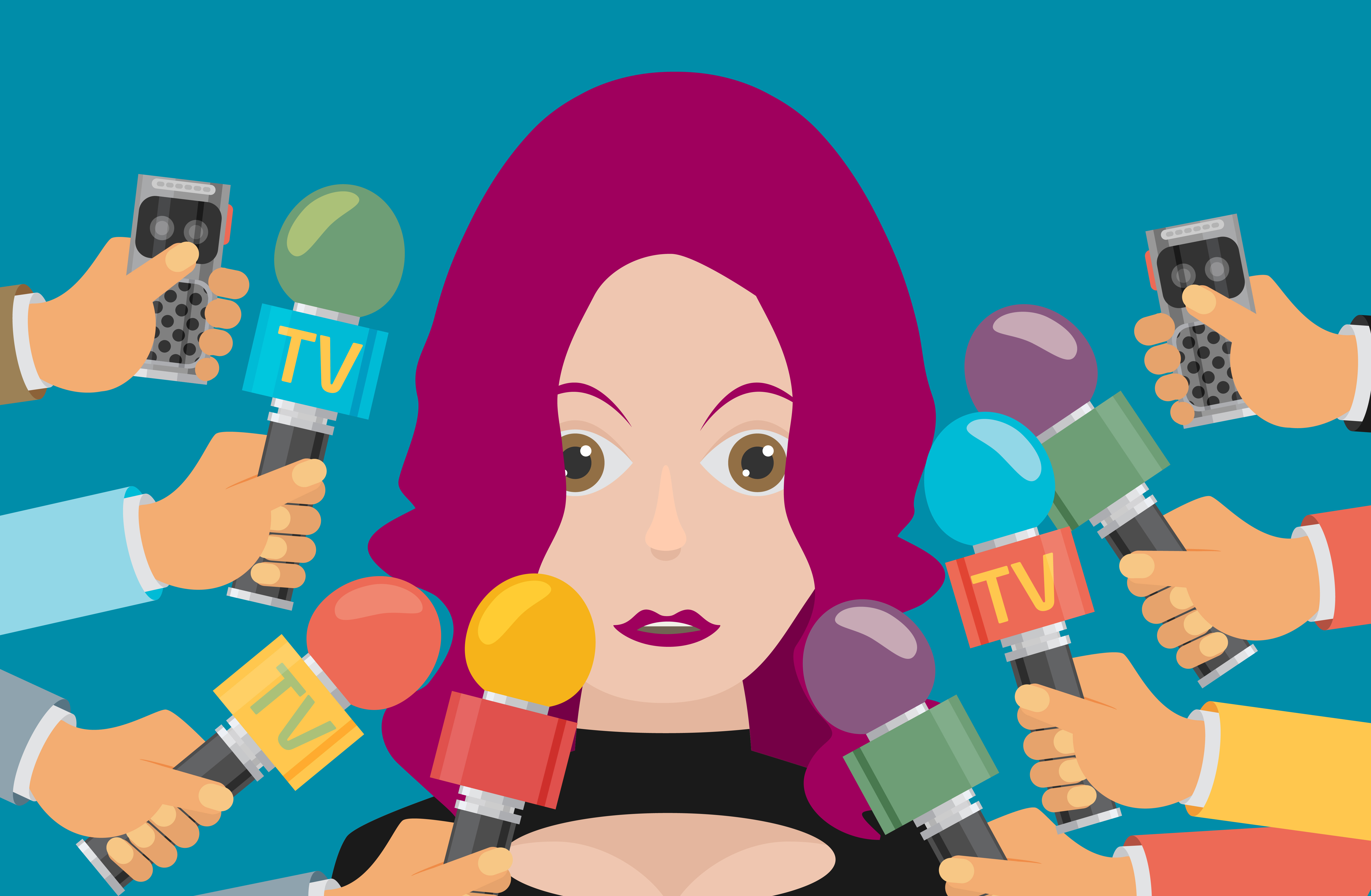 Cartoon woman with many microphones in her face
