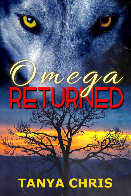 Cover for Omega Returned by Tanya Chris features a black wolf in front of a sunset