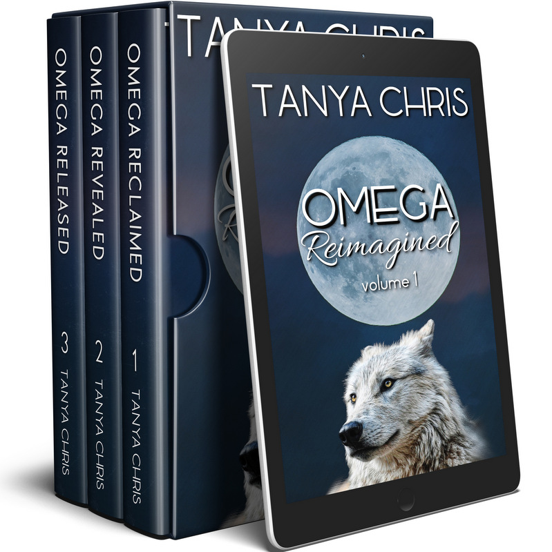 Cover for Omega Reimagined volume 1 by Tanya Chris shows a full moon and a white wolf