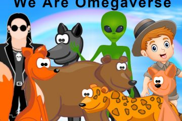 """A variety of animals, people, and an alien with the text """"We Are Omegaverse"""""""