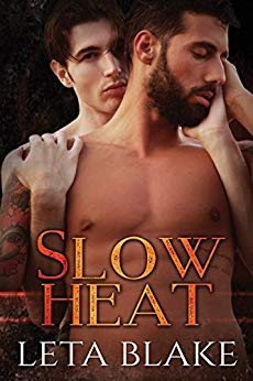Cover of Slow Heat by Leta Blake shows a younger man embracing an older man