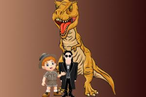 Cartoon image of a T-Rex with a goth character and an archeologist character