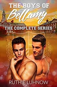 Cover for The Boys of Bellamy features two bare chested men in front of a college scene
