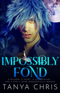Cover for Impossibly Fond by Tanya Crhis shows a man with shaggy blue hair in front of a full moon