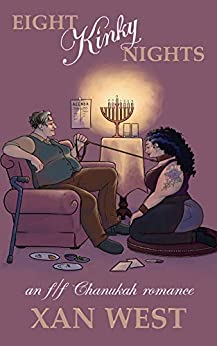 A femme woman kneels at the feet of a butch woman with a menorah burns in the background