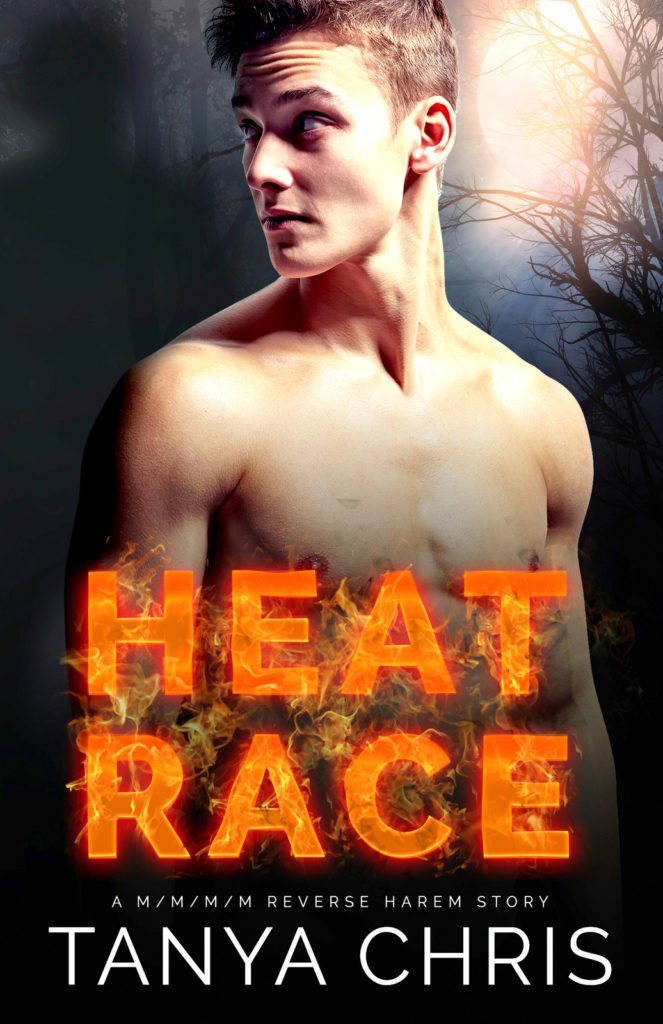 Cover for Heat Race by Tanya Chris shows a young man in moonlight looking over his shoulder at a looming shadow